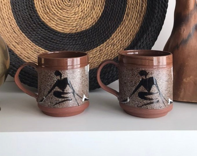 Vintage Simba Pottery - African Ceramic Coffee Mugs - Pair of Lead Free Brown Terra Cotta Earth-tone Sand and Sediment Style cups