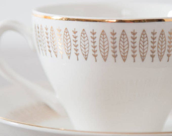 Gold Teacup & Saucer by Royal Knight Traditional Dinnerware / 22k Plate / Saucers with Leaves / Leafs / Branches / Feathers / Arrows