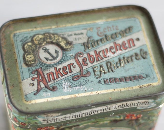 "1800's Antique German Tin ""Nürnberger Anker Lebkuchen"", Gold Medaille Circa 1894"
