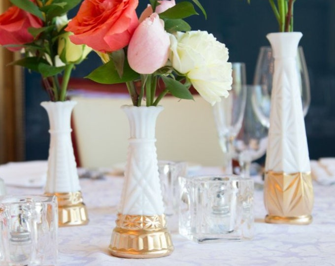 6 Table Vases - Gold Dipped Vintage White Milk Glass Vases with Geometric Shapes -Set of 6 mid century brass Wedding Decor Table Centrepiece