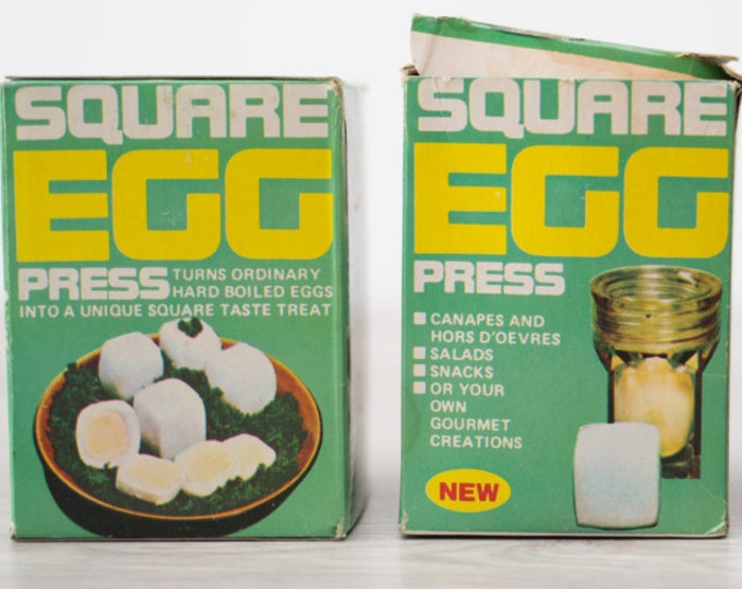Vintage Square Egg Press - turns ordinary hard boiled eggs into little squares! Perfect for Appetizers, retro party hors d'oeuvres