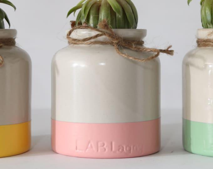 Pink Dipped Jar / Vintage Lab Lagny Mustard Jar / Beige Colored Ceramic Pot Jar with Pink Bottom for Plants or Pens / Utensil Holder
