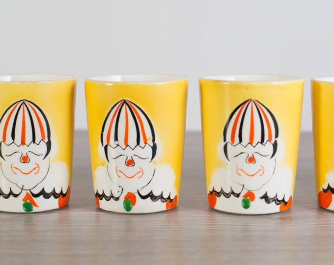 Yellow Clown Cups / Set of 6 Circus Glasses for Kids Birthday Party / Made in Japan / Mid Century Halloween Decor