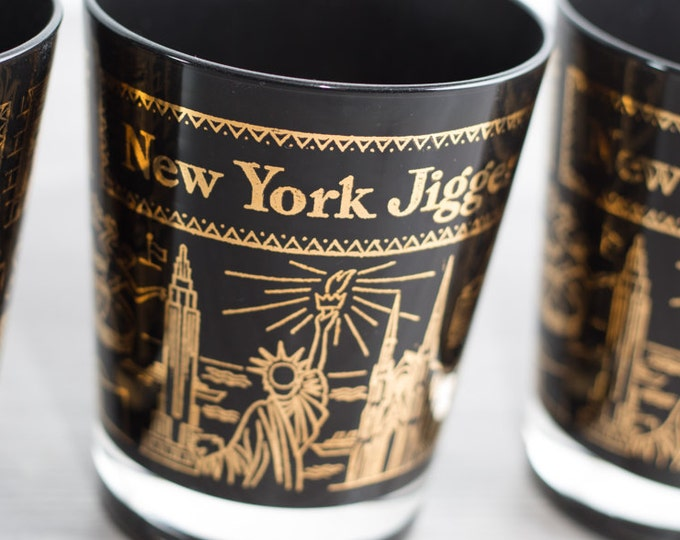 New York Glasses / Set of 6 Vintage Black and Gold Jigger Glasses / Mid Century NYC Tourist Barware Swag