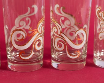 Vintage Drinking Glasses - Set of 5 Cocktail Glasses  with Gold and White Spiral Design - Hollywood Regency Barware