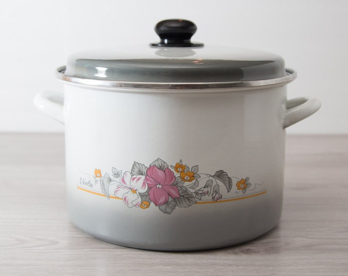 Enamel Cooking Pot / Large Vintage Floral Flower Hawaii Design Stovetop Boiler / Tikki / Double Handle / White, Gray and Pink