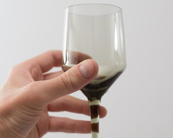 Vintage Grey Wine Glasses - Orrefors Rhapsody Smoke Grey Cocktail or Apéritif Glasses (MCM Mad Men 1960's Style Liquor Stemware Barware)