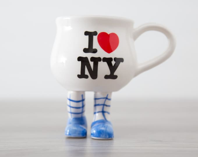 New York Mug / Vintage Collectible New York Souvenir City Mug / I love NY Heart Design Standing Coffee Mug with Legs and and Blue Shoes