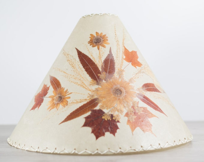 Vintage Parchment Lampshade with Pressed Brown Leaves and Flowers / Canadian Leaves