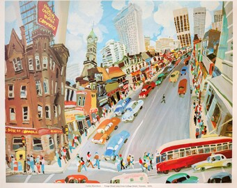 "1976 ""Yonge Street seen from College Street"" Limited Edition Print of Whimsical Painting by Carlos Marchiori / Toronto Canada Cityscape"