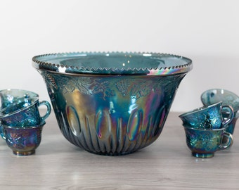Vintage Iridescent Punchbowl and Cups - Indiana Iridescent Blue and Purple Carnival Glass Punch Bowl with 9 Cups and Grape Pattern