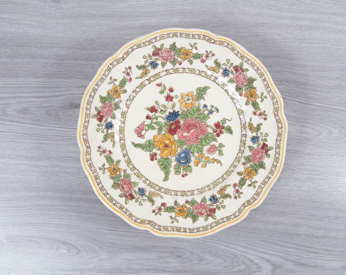 Vintage Floral Plates - Set of 6 1940's Royal Doulton The Cavendish Ornate Flowers Ceramic Creamy White Antique Dishware - Made in England