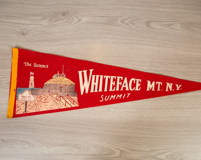Whiteface, MT, NY the Summit Pennant - Vintage Felt Souvenir Hanging Triangle Shaped Wall Decor - Boys Room Wall Hanging