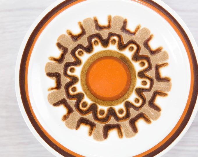 Vintage Side Plates / Aztec Haniwa Stone Genuine Stoneware / Made in Japan / Geometric Design Earthtone Orange Brown Primitive