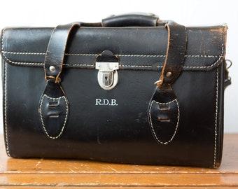Vintage Leather Camera Bag - Black DSLR Carrying Case with Silver Coloured Buckles and Shoulder Strap - Distressed Leather Bag