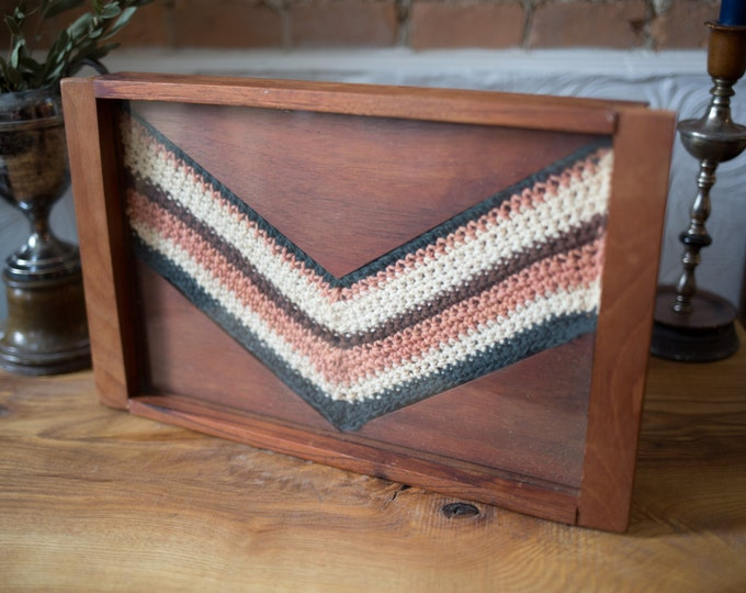 Wood and Glass Tray with Crochet Zig Zag Triangle Chevron Pattern / Vintage Handmade Decorative Platter to Serve Cocktails, Tea, Coffee