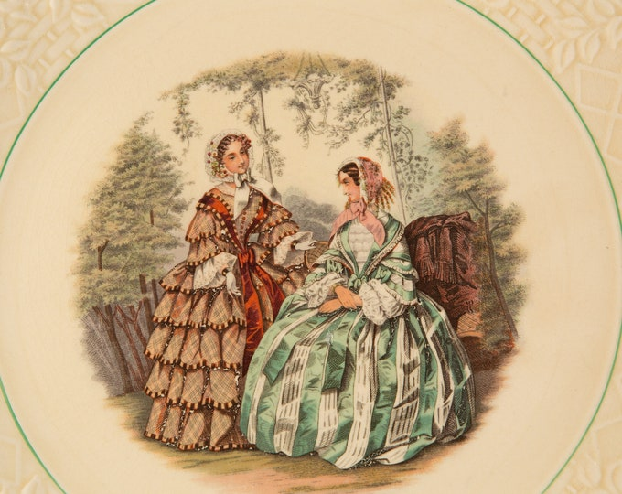 Vintage Serving Plate - Briar Rose by POPE GOSSER - Victorian Dresses and Women Posing for Portrait in Forest Artwork on Ceramic Plate