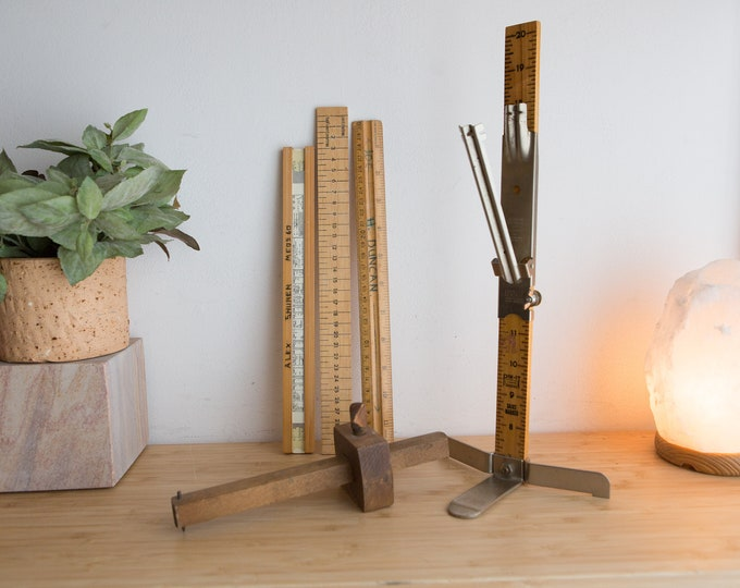 Vintage Wood Rulers and Skirt Measuring Stick - Stanley Measuring Stick - Pin-it Skirt Marker - School Educational Memorabilia