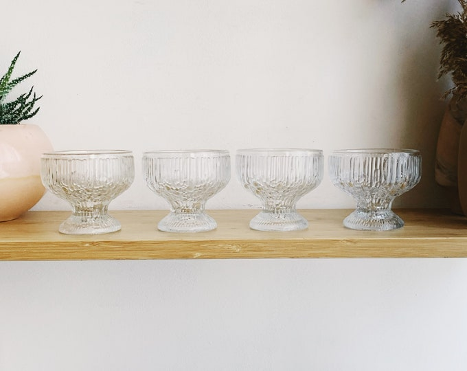 4 Icicle Glass Bowl - Frosty Scandinavian Finnish Style Frosted Finland Dessert Ice Cream Compotes - Mid Century Modern Norwegian Arctic Ice