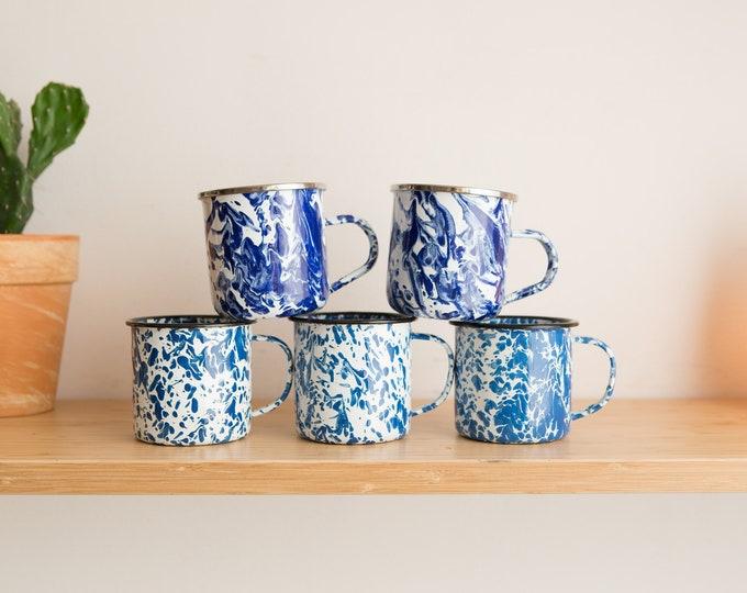 Vintage Enamel Mugs - 5 Cobalt Blue & White Marbled Tie Dye Swirl Enamelled Camping Coffee Mugs - Cottage Cabin Rustic Decor - Shatterproof