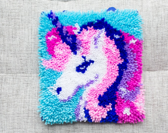 Vintage Unicorn Needlepoint Artwork - 11x11 inches Pink Purple and Blue Fabric Art Square Tapestry