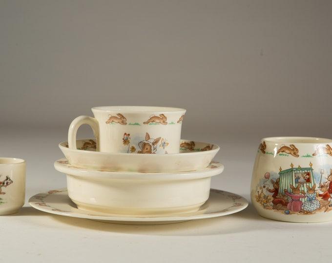Vintage Bunnykins Plates, Bowl, Mugs - 1984 Royal Doulton Tableware - Golden Jubilee Celebration - Easter Rabbit Decor lot