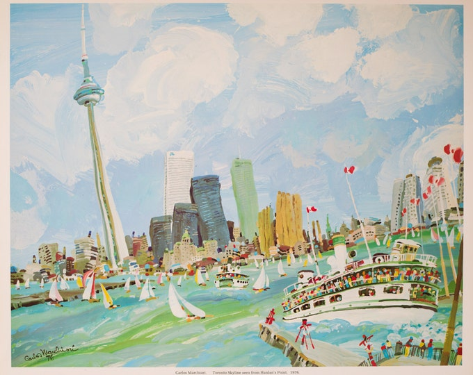 "1976 ""Toronto Skyline"" Limited Edition Print of Whimsical Painting by Artist Carlos Marchiori / Toronto Canada Cityscape / Historic Landmark"