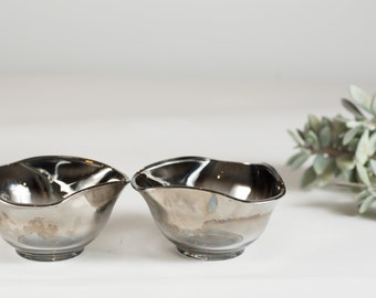 Vintage Glass Bowls with  Mirrored Smokey Ombre Finish - Fruit Parfait Dessert Bowls - Mid Century Modern Mad Men Style Serving Bowls