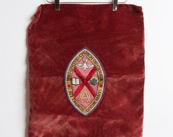 United Church of Canada Vintage Tapestry - Velvet Red Wall Hanging - Protestant Christian Denomination Religious Memoribilia