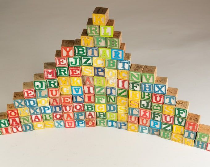Vintage Wood Letter Blocks - 112 Piece Wooden Colourful Vintage Double Sided Square Kids Toys - Spelling Game