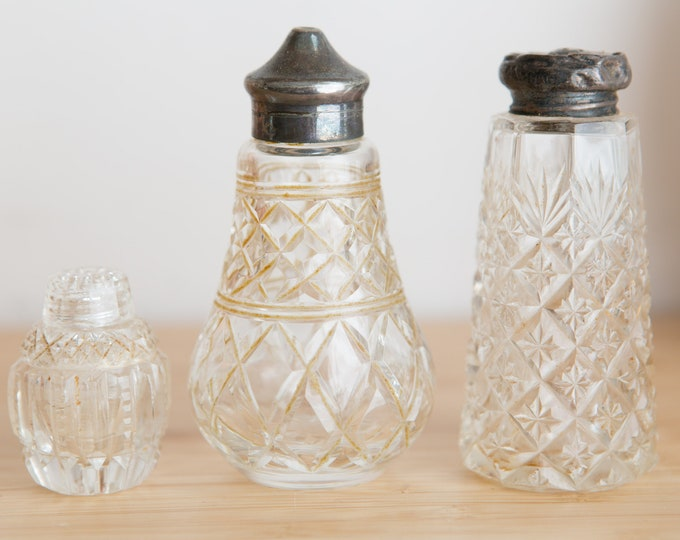 Salt and Pepper Shakers - Antique Clear Depression Glass Collectible Silver Lid Shakers - Vintage Edwardian Tableware Decor