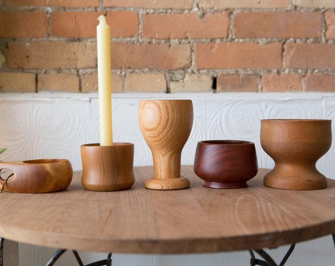 Vintage Wood Bowls, Goblets, Candle Holder  - Solid Exotic Teak Wood Food Safe Serving Appetizer Dish -Danish Modern Nordic Decor