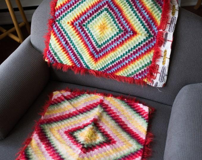 Vintage Threaded Pillow Cases - Rainbow Boho Geometric Southwestern Abstract Diamond Pattern Cross Stitch Decorative Pillow - Bohemian Gypsy