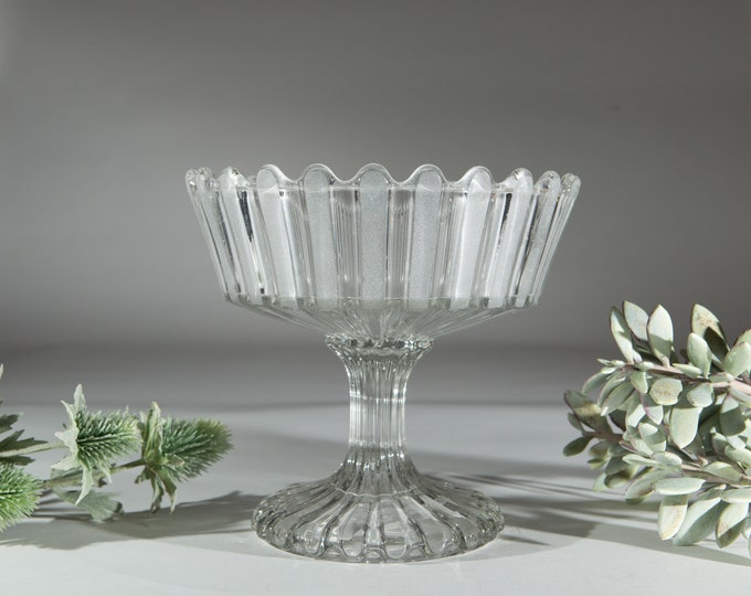 1800's Glass Candy Dish - Pleated Stemmed Compote Bowl - Made in USA - Dessert Table Centrepieces