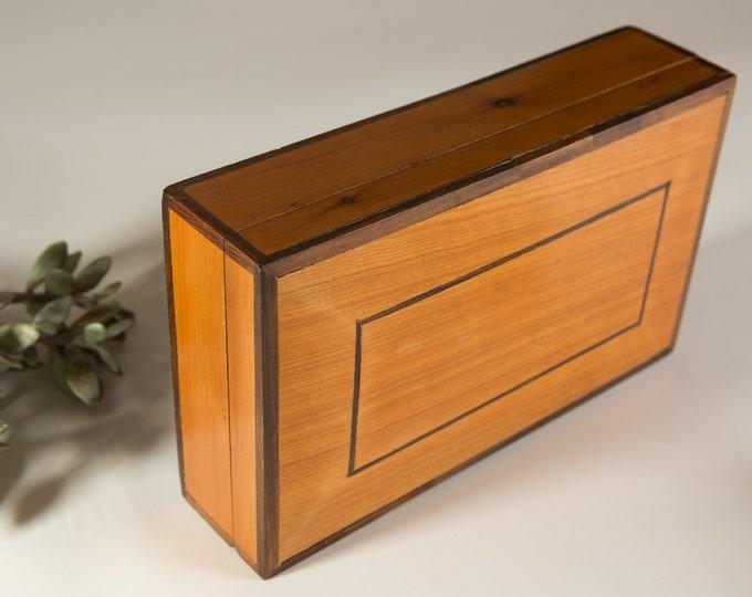 Wood Cigar Humidor - Dunhill Birds Eye Maple Veneer Cedar Wood Cigar Box - Tobacciana Tobacco Box w Thermal Aggrometer - Groomsman gift