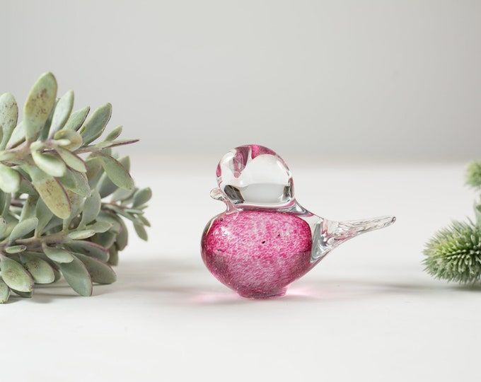 Vintage Glass Bird Paper Weight - Handmade Handblown Murano Bird Ornament - Art Glass Clear Boho Mid Century Modern Decor -Mother's Day Gift