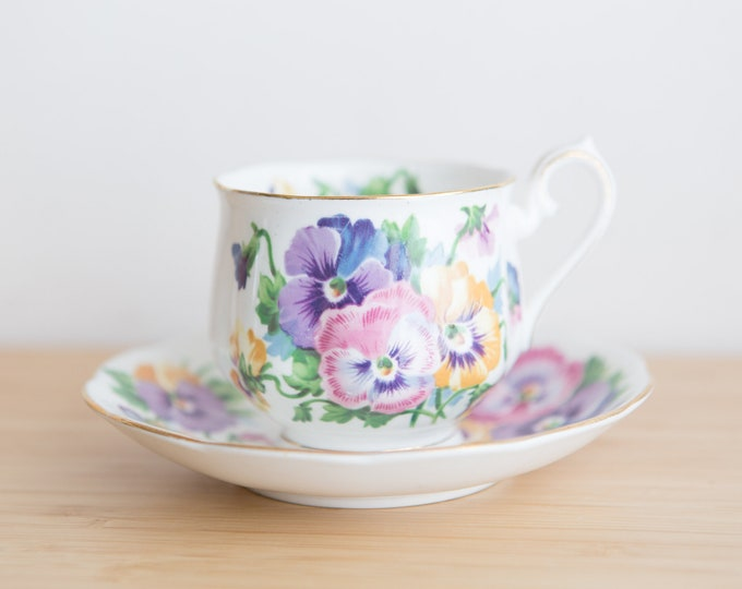 Vintage Teacup - Spring Melody Queen Ann Bone China Floral Tea Cup and Saucer