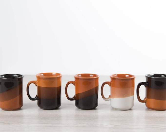 Vintage Ceramic Coffee Mugs / Set of 5 Layered Earth-tone Tea cups with Triple Dip in Brown and Orange and White