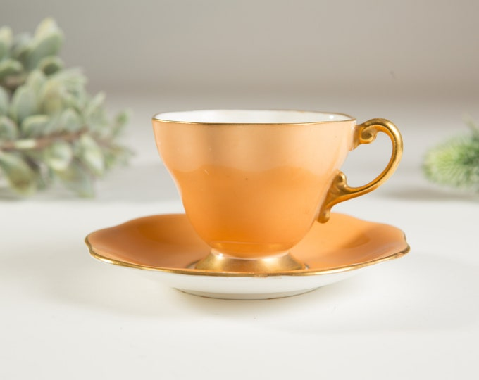 Vintage Bone China Teacup - Foley Creamsicle Orange and Gold Teacup and Saucer - Made in England