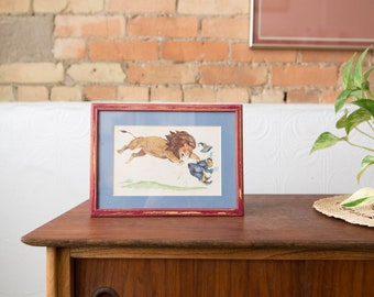 Vintage Framed photo of man being chased by a Lion - Lion, Witch and Wardrobe Storybook Print