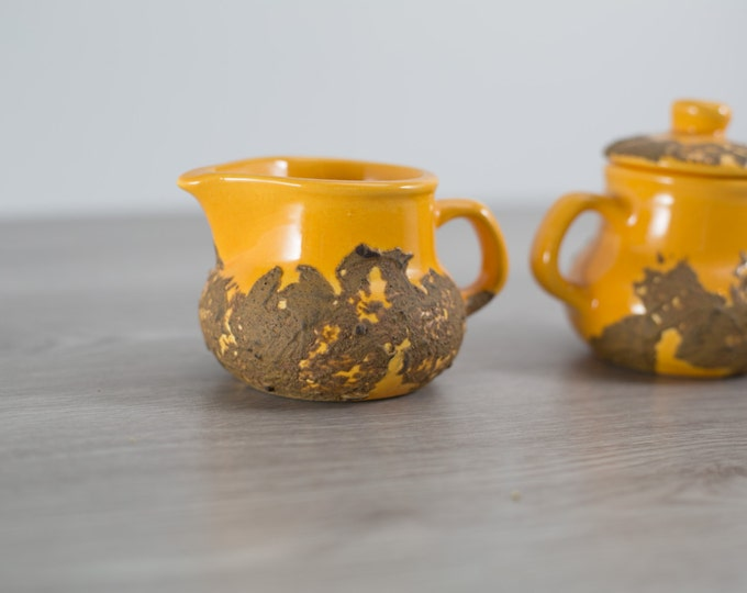 Vintage Sugar and Creamer Set by Laurentian Pottery with Yellow Molten Lava Design