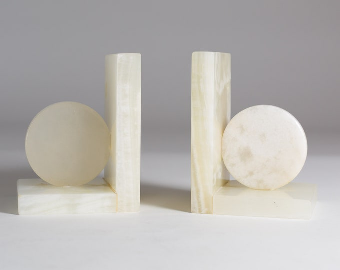 Vintage Stone Bookends - Marbled Cream White Round Geometric Bookends - Translucent Stone heavy Bookends