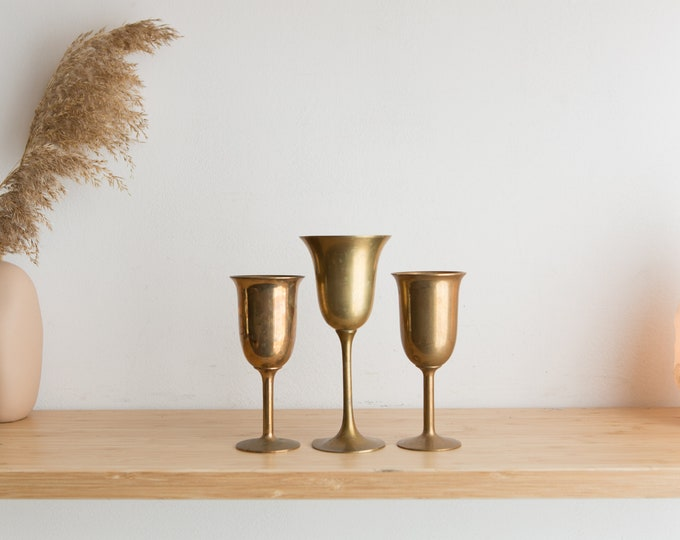 Brass Wine Goblets - Set of 3 x 3oz Tudor Style Metal Wine Goblets - Rustic Gold Colored Game of Thrones Decor