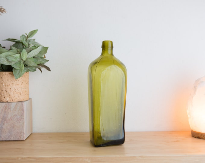 Antique Handblown Green Bottle - 1800's Gin Bottle - Collectible Glass -