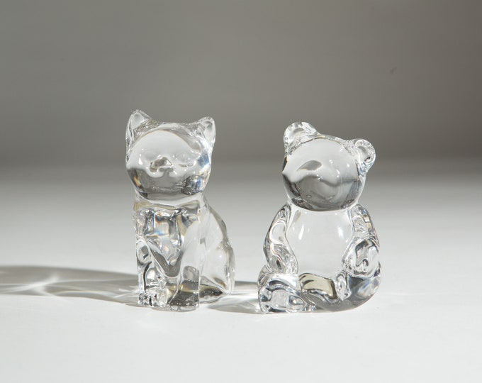 Vintage Glass Cat and Bear - Princess House Lead Crystal Figurines from West Germany