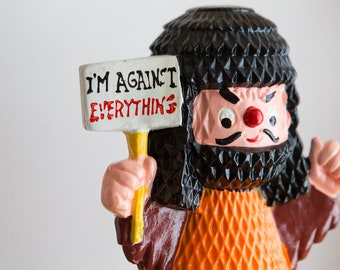 "Vintage Lego Bank - ""I'm Against Everything"" Collectible Ceramic Coin Bank of Preotester - Petty Cash Storage"