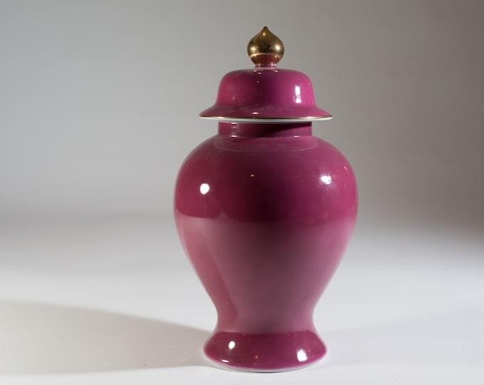 Boysenberry Ceramic Urn - Large Vintage Limelight Rose TasteSeller by Sigma Lidded Purple Bubble Bust Vase Pot