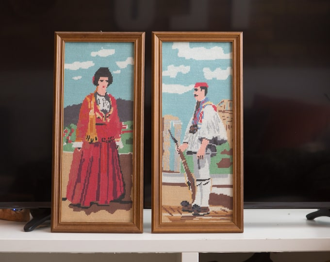 Vintage Man and Woman Needlepoint Artwork / Framed Embroidered Cross Stitch Fabric Art Tapestry of Spanish Countryside