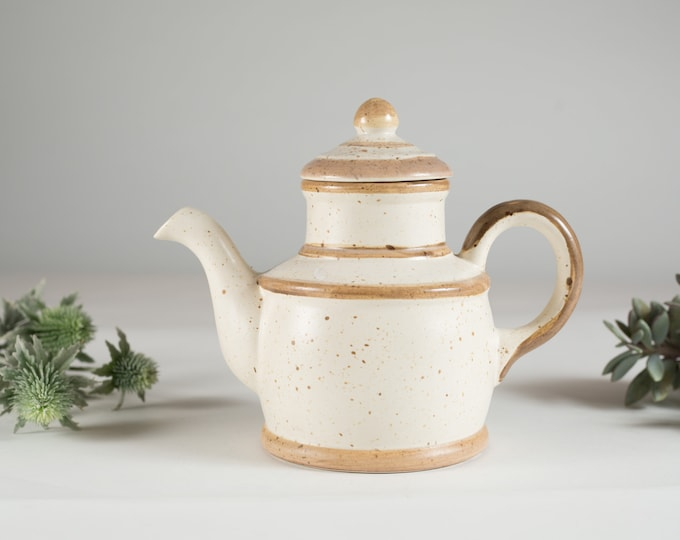Minimalist Teapot - Vintage Speckled Ivory and Brown Tea pot - Ceramic Boho Earthtone Circle Design TeaPot - Mother's Day Gift