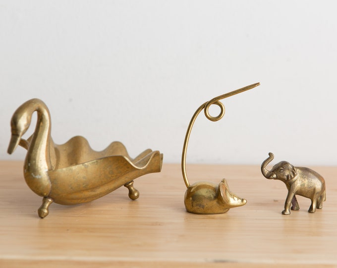 Vintage Brass Swan, Mouse and Elephant - Gold Colored Desk Figurines - Girls / Boys Room - Ring Dish -Baby Shower Gift - Modern Boho Decor